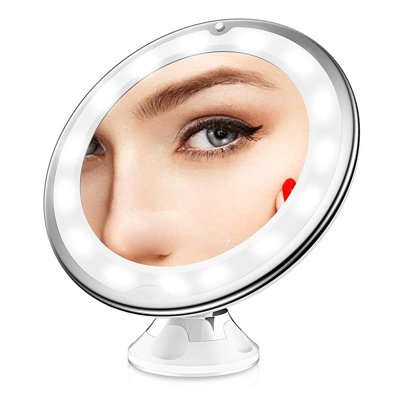 Зеркало для макияжа с подсветкой настенное, настольное - Для ванной и комнаты -Косметическое круглое увеличивающее - LED Светодиодное кольцо