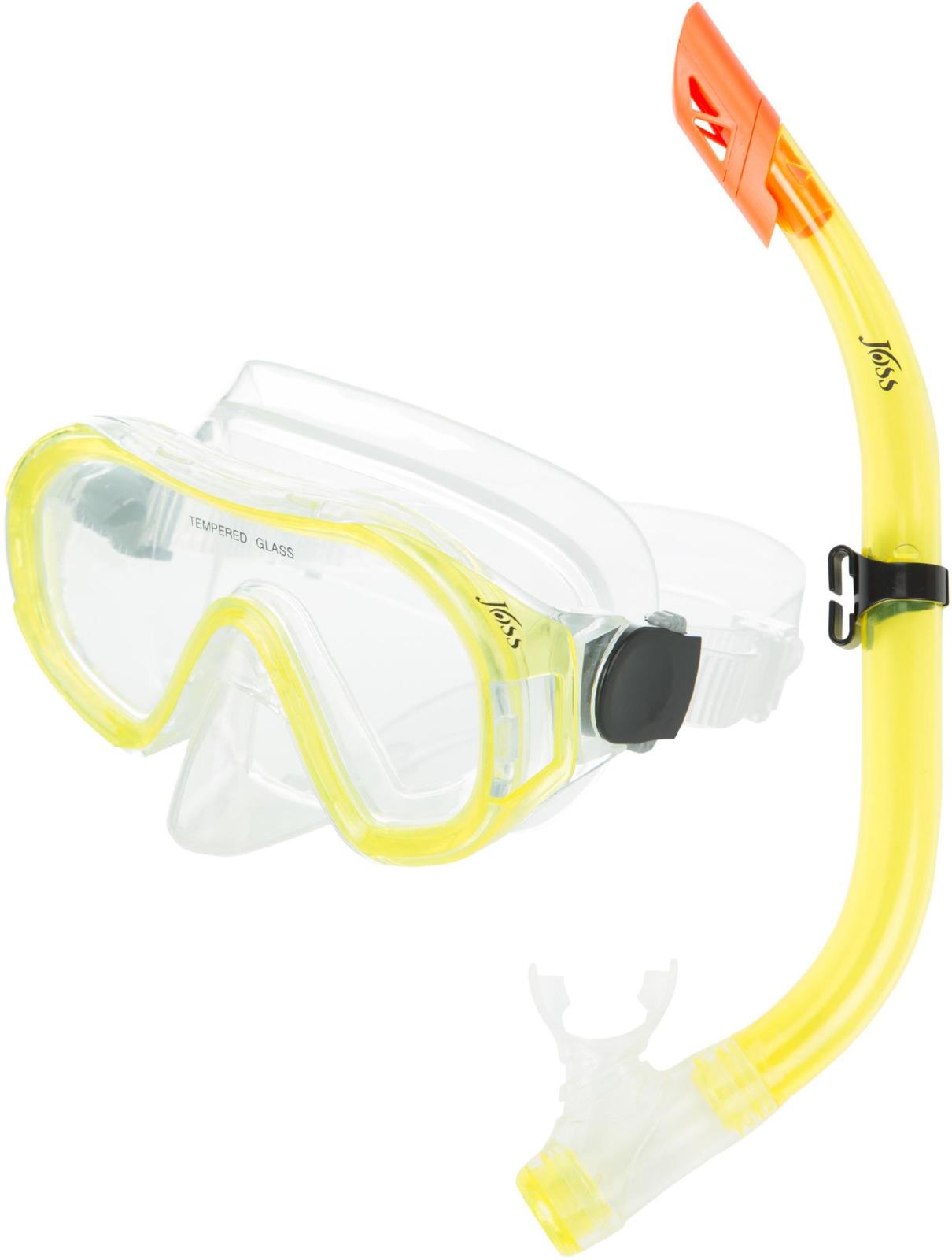 Набор для подводного плавания Joss, детский, цвет: прозрачный, желтый, оранжевый, 2 предмета