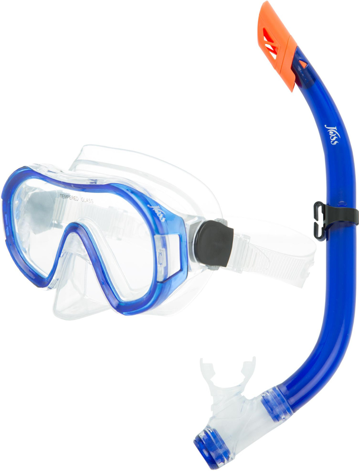 Набор для подводного плавания Joss, детский, цвет: прозрачный, синий, оранжевый, 2 предмета