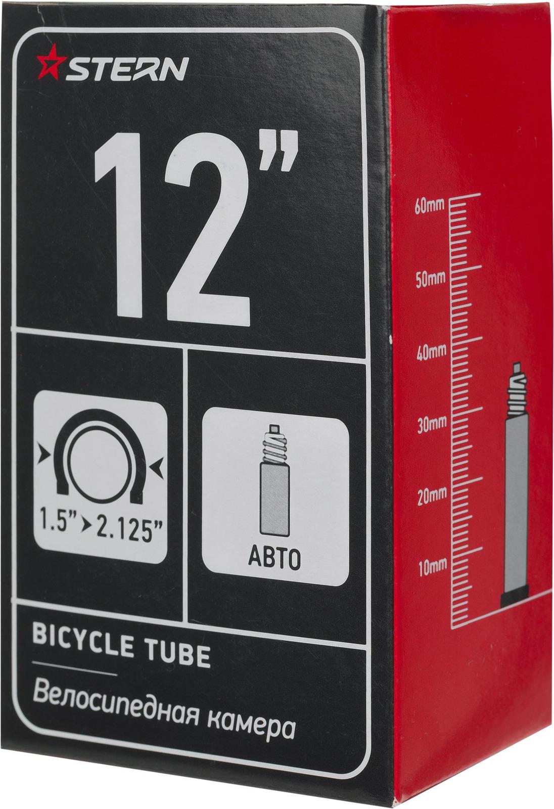 Велокамера Stern CTUBE-12S, черный, 12'', автониппель камера велосипедная stern с автониппелем диаметр колеса 24