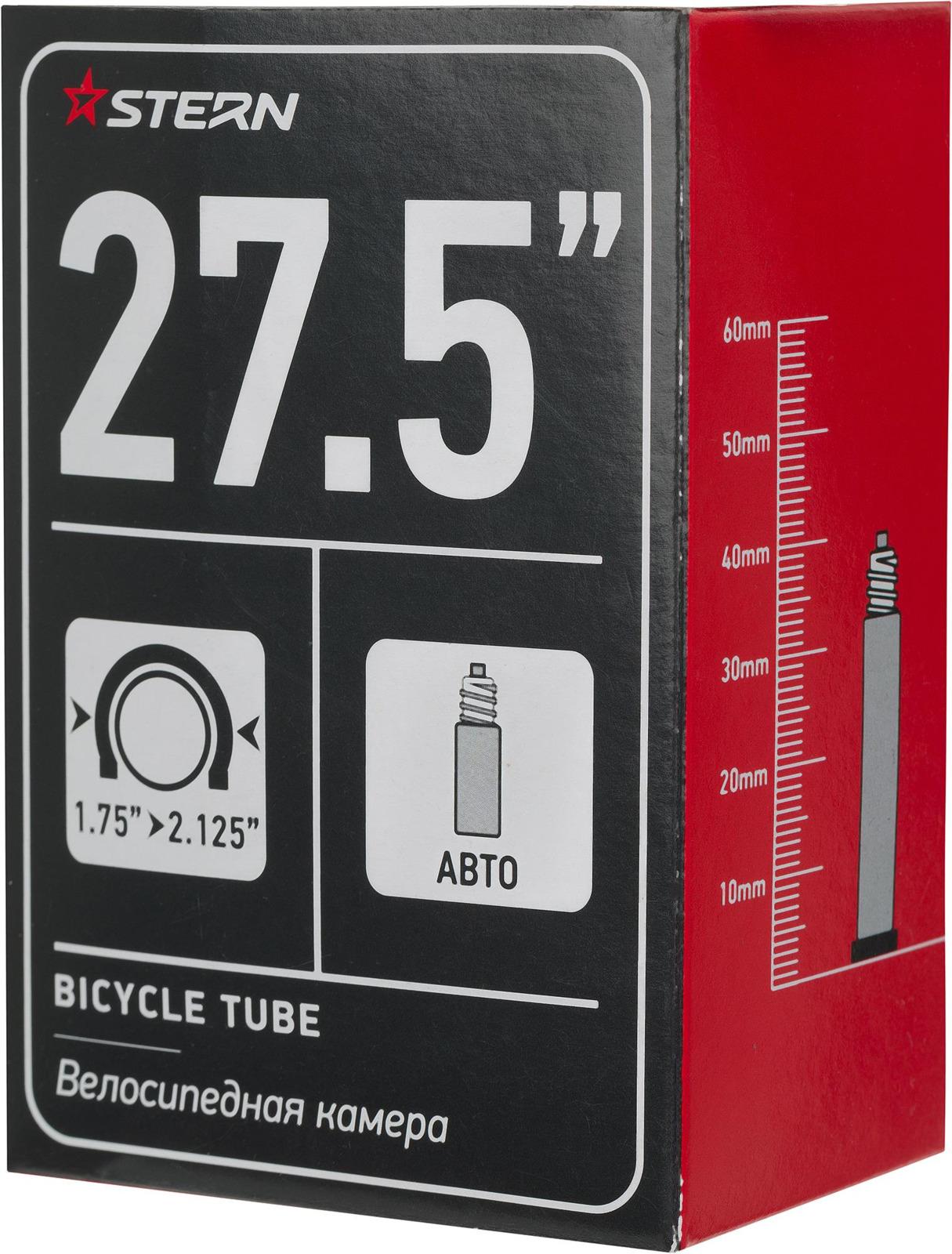 Велокамера Stern CTUBE-275S, черный, 27.5, автониппель камера велосипедная stern с автониппелем диаметр колеса 24