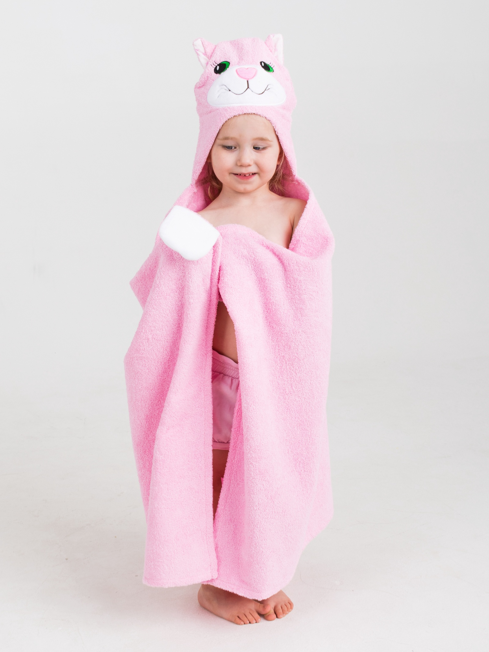 Полотенце детское BabyBunny Полотенце с капюшоном - Розовая кошечка, Хлопок imsevimse полотенце с капюшоном cова