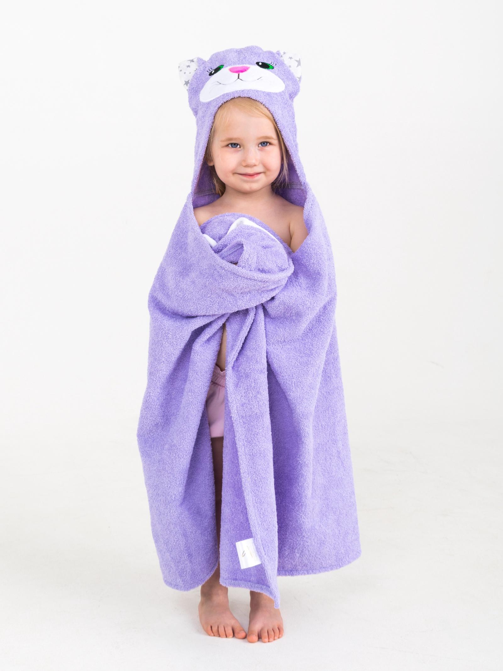 Полотенце детское BabyBunny Полотенце с капюшоном - Кошечка, лиловая, Хлопок