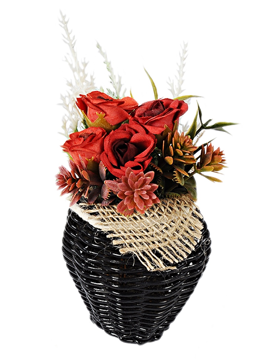 Искусственные цветы KVI 05-19KVS-П-Вазон-1, коричневый, красный