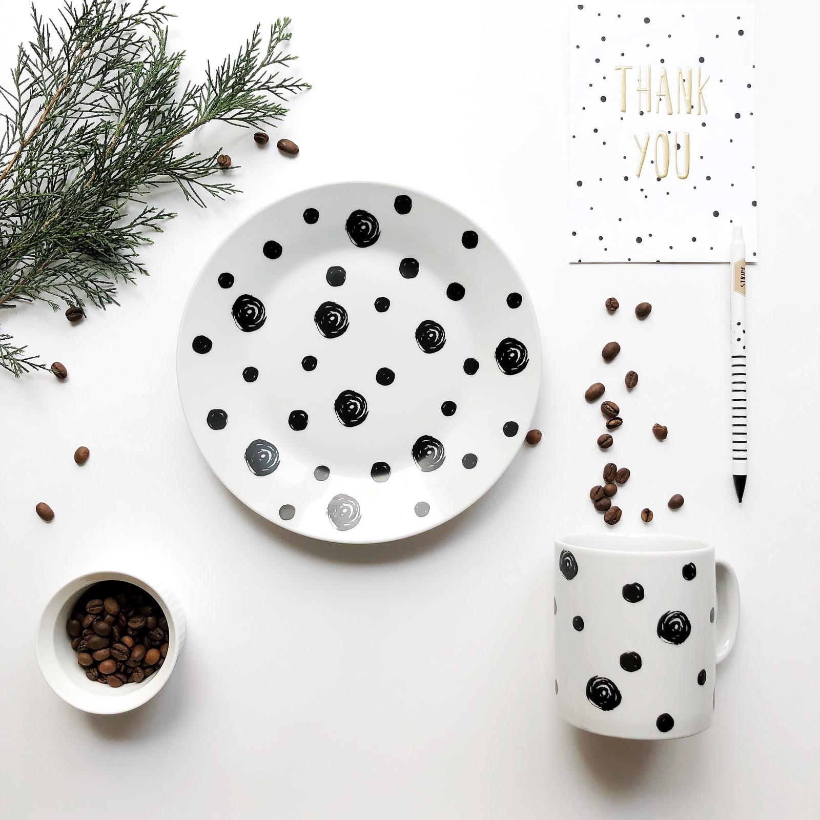 Набор столовой посуды Сотвори Чудо Набор посуды Горох (2 в 1: кружка+тарелка), белый тарелка мелкая сотвори чудо бантик sans brides диаметр 20 см