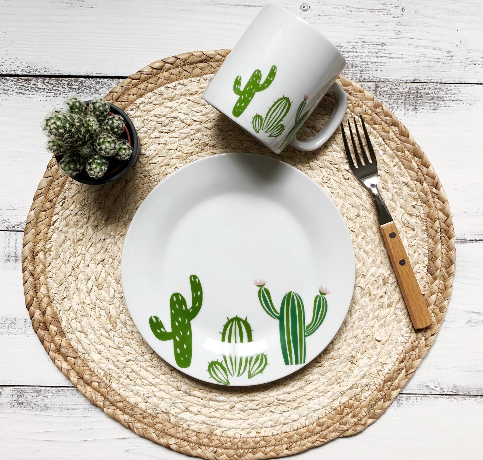 Набор столовой посуды Сотвори Чудо Набор посуды Кактусы (2 в 1: кружка+тарелка), белый тарелка мелкая сотвори чудо бантик sans brides диаметр 20 см
