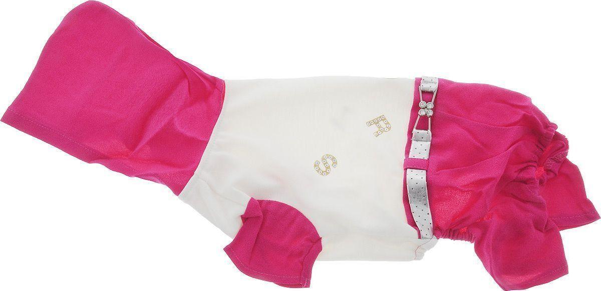 Одежда для собак Pret-a-Pet, комбинезон, белый, фуксия, размер XS цена
