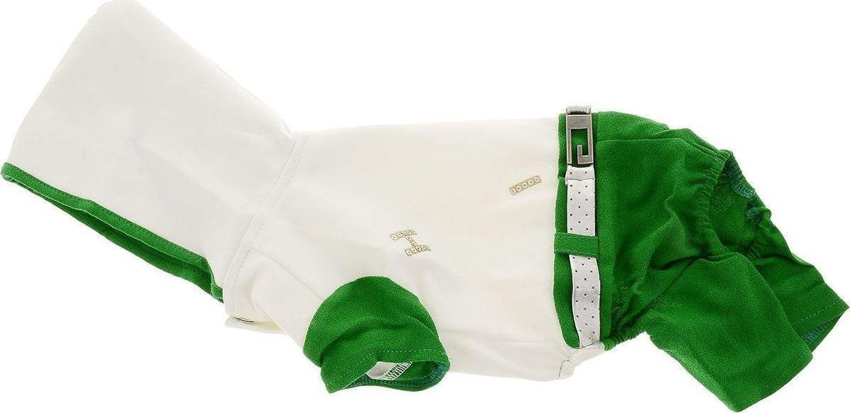 Комбинезон для собак Pret-a-Pet, цвет: белый, красный. Размер SMOS-019-S_белый, красныйКомбинезон для собак Pret-a-Pet отлично подойдет для прогулок в сухую погоду или для дома. Модель выполнена из вискозы с добавлением полиакрила (вискоза 95%, полиакрил 5%). Комбинезон оснащен несъемным остроконечным капюшоном. Изделие имеет длинные брючины и короткие рукава для передних лапок. Задняя часть дополнена мягкой резинкой. В районе холки имеется прорезь для крепления поводка. Комбинезон застегивается на животике на 3 металлические кнопки. Модель украшена декоративным ремешком. Декор в виде блестящих букв добавляет оригинальности. Благодаря такому комбинезону вашему питомцу будет комфортно наслаждаться прогулкой или играми дома. Длина по спинке: 24 см. Обхват груди: 33 см. Обхват шеи: 25 см.