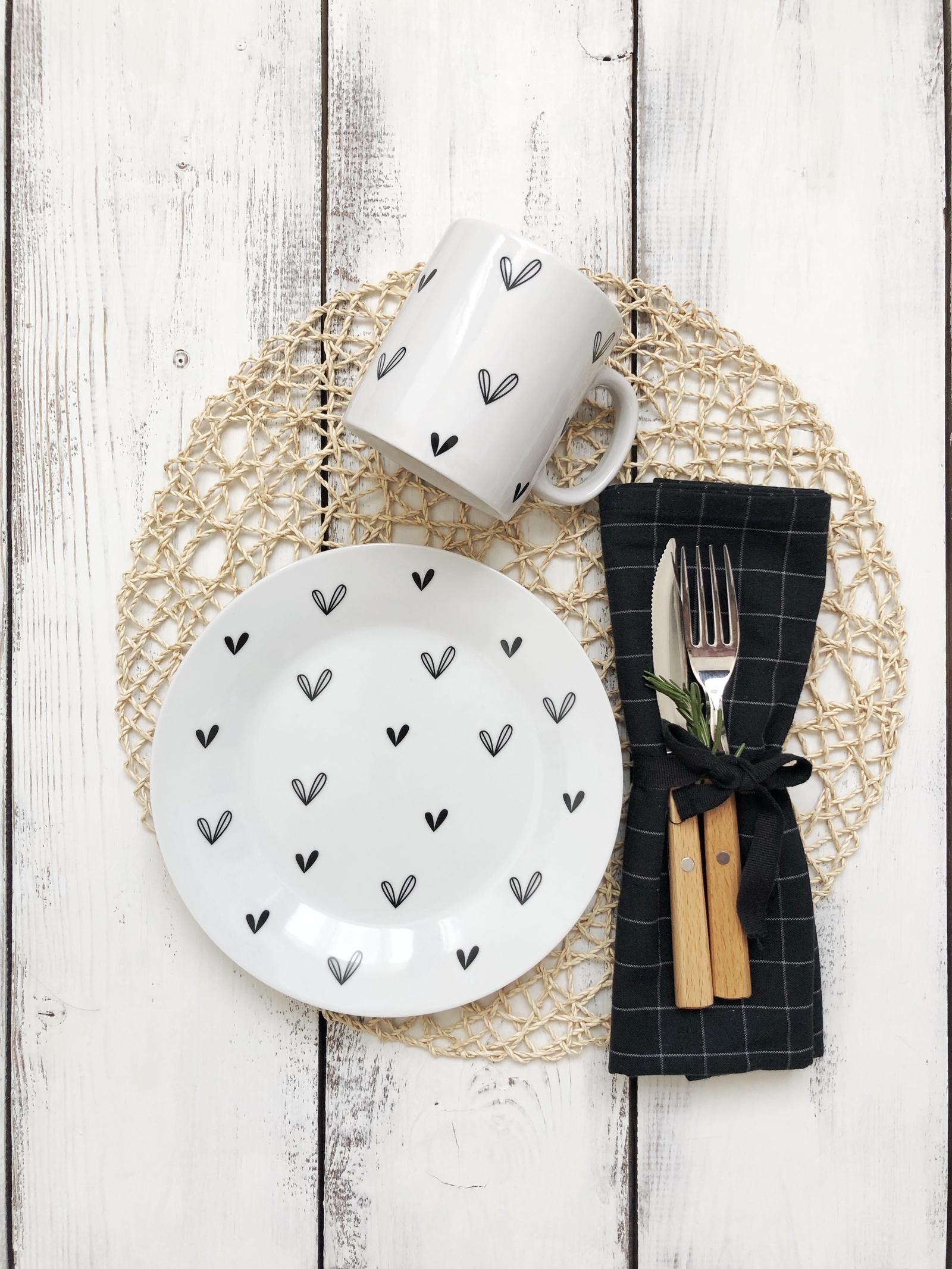 Набор посуды Сердце (2 в 1: кружка+тарелка)