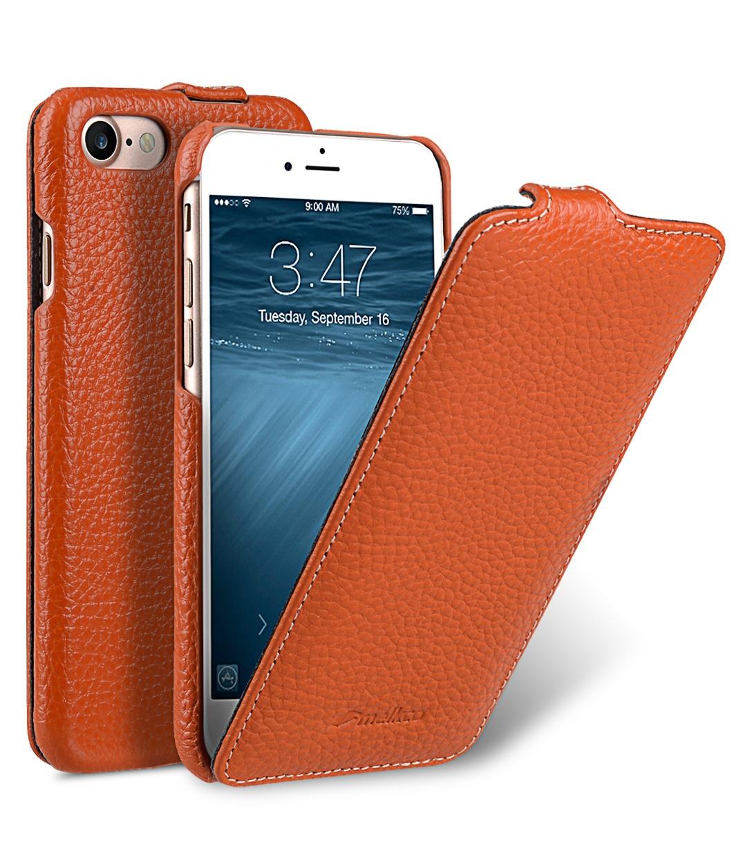 Чехол для сотового телефона Melkco Кожаный чехол флип для Apple iPhone 8/7 - Jacka Type, оранжевый все цены