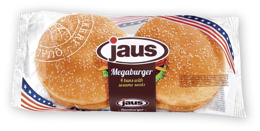 Булочки пшеничные для гамбургеров с кунжутом Jaus (Германия) Мега Бургер (большие, 4 штуки) 300г длительного срока хранения