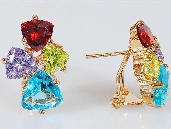Серьги бижутерные Lotus jewelry 3023E-20mix, Ювелирный сплав, Фианит, разноцветный цена