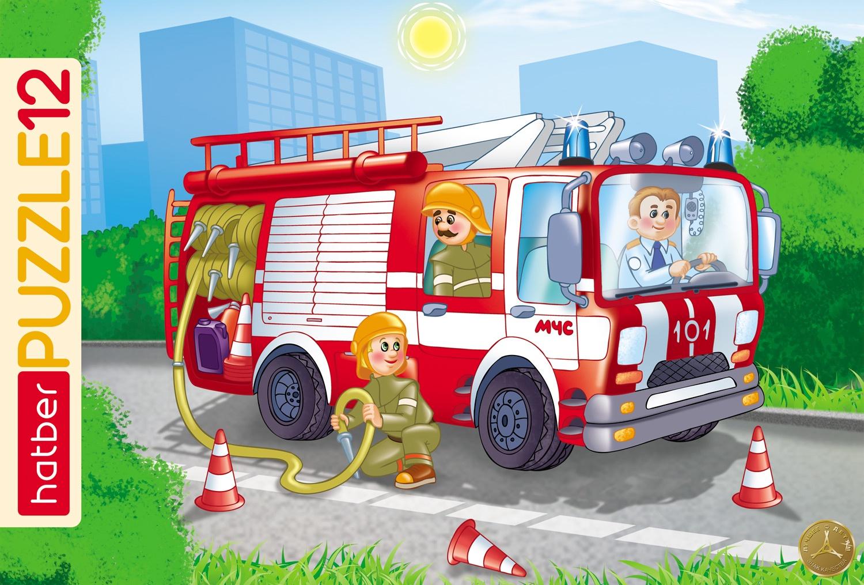 Пазл HATBER Пожарная машина 12 элементов в рамке цена