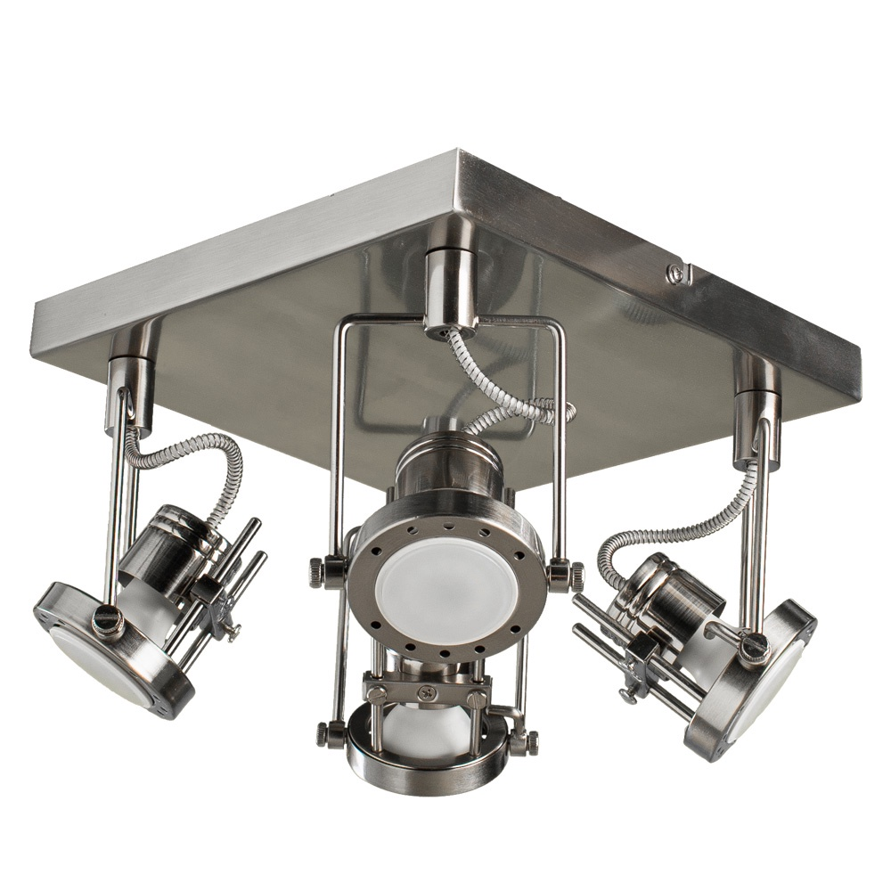 Настенно-потолочный светильник Arte Lamp A4300PL-4SS, GU10, 50 Вт arte lamp потолочный светильник arte lamp a4300pl 4ab