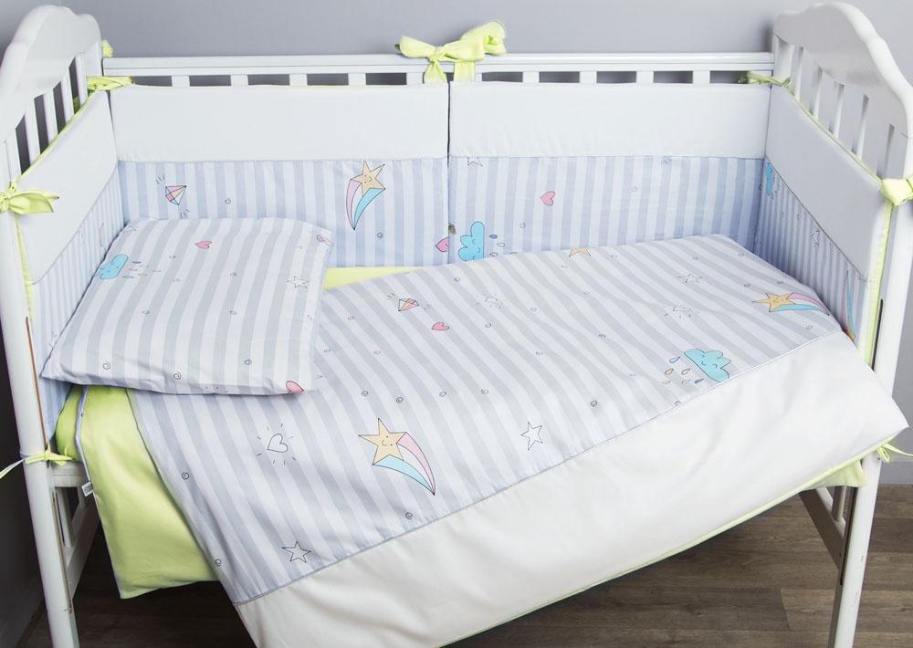 цена Комплект белья для новорожденных Сонный гномик Серебряная нить, салатовый онлайн в 2017 году