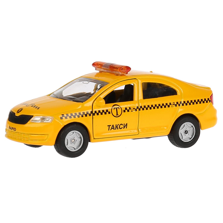Машина металл SKODA Rapid такси 12см, Технопарк инерционная машинка технопарк skoda rapid такси желтый