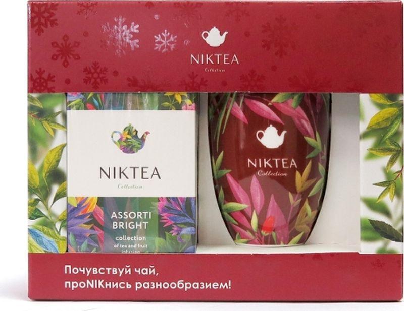 Niktea подарочный набор с пакетированным чаем Ассорти Брайт, 25 шт и красной кружкой подарочный набор чаем и медом