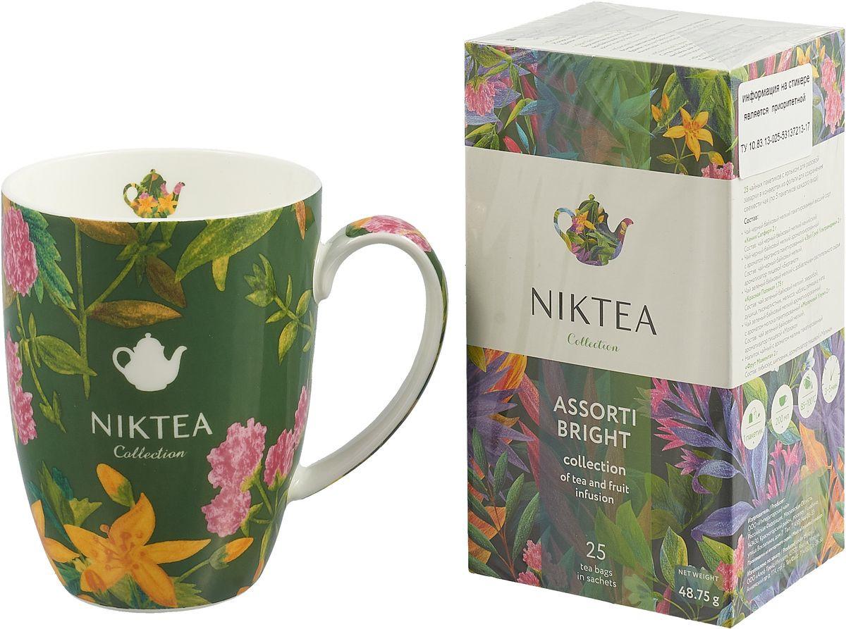 Niktea подарочный набор с пакетированным чаем Ассорти Брайт, 25 шт и зеленой кружкой подарочный набор чаем и медом