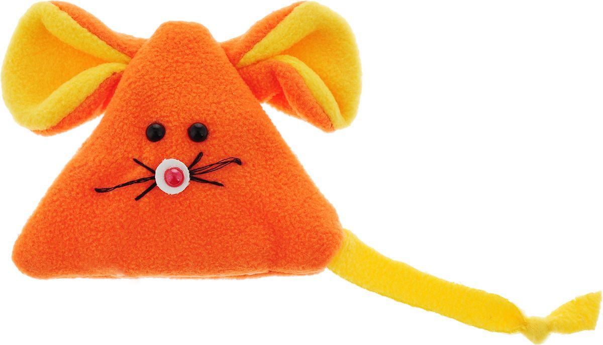 """Игрушка для животных GLG """"Мышь на липучке"""", для кошек, с экстрактом кошачьей мяты, оранжевый"""