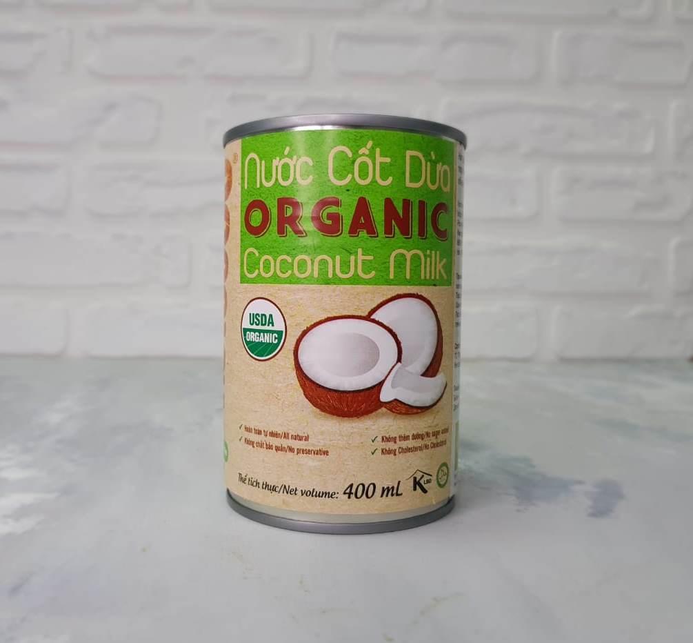 Растительное молоко Кокосовое натуральное Organic 400 мл TM VietCOCO Банка с ключом halal