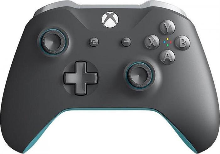 Геймпад Microsoft Xbox One, беспроводной, серый, синий microsoft локо xb накладки на стики беспроводного контроллера для xbox one s