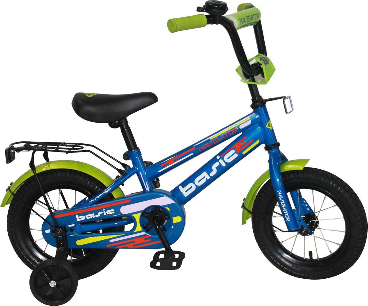 Велосипед детский Navigator Basic, ВН12129, голубой, зеленый, черный, колесо 12