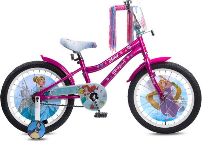 Велосипед детский Disney Принцесса, ВН18104, голубой, розовый, колесо 18
