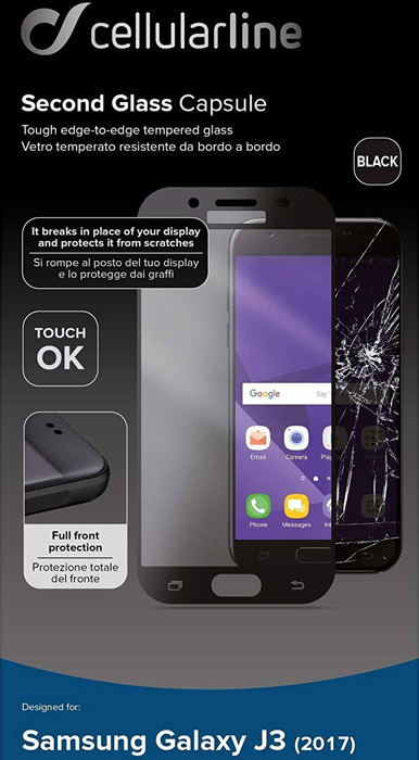 Защитное стекло Cellularline для Samsung Galaxy J3 (2017), TEMPGCABGALJ317T, прозрачный защитное стекло для samsung galaxy j7 2017 sm j730fm onext на весь экран с розовой рамкой