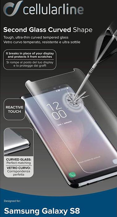 Защитное стекло Cellularline для Samsung Galaxy S8, TEMPGCUCFGALS8T, прозрачный чехол samsung eb wg95ebbrgru для samsung galaxy s8 защитное стекло черный