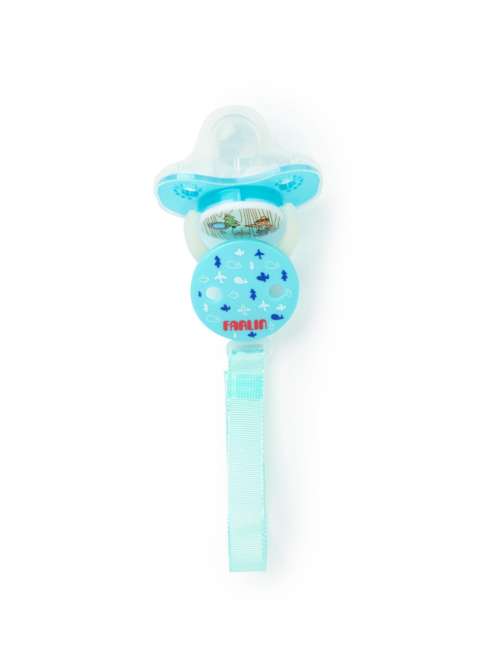 Пустышка Farlin силиконовая с копачком, цепочка +6 мес голубой пустышки farlin силиконовая 0 6 мес с колпачком и цепочка для пустышки