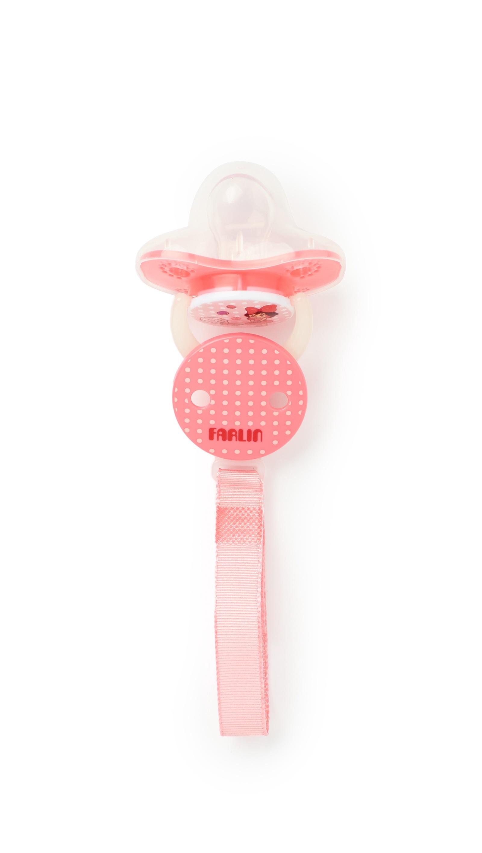 Пустышка Farlin силиконовая с копачком, цепочка +6 мес розовый пустышки farlin силиконовая 0 6 мес с колпачком и цепочка для пустышки