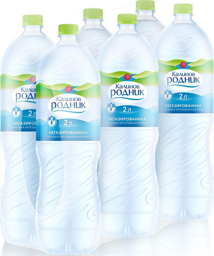 Калинов Родник Вода питьевая артезианская негазированная, 6 шт по 2 л вода калинов родничок для детей 2 шт х 6 0 л