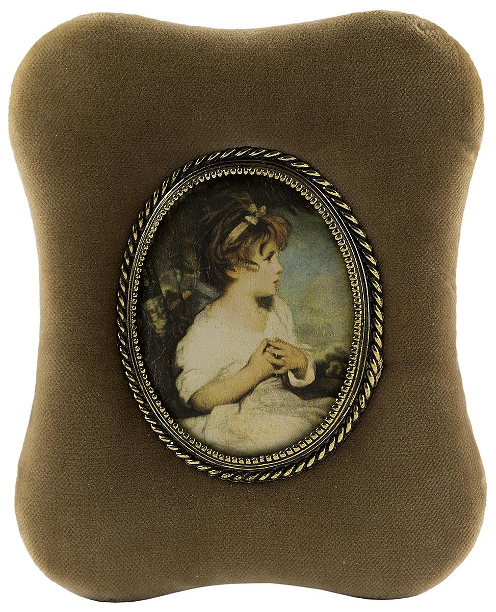 Настенный декор  Плакетка декоративная в викторианском стиле. Латунь бархат шелк. Великобритания середина ХХ века