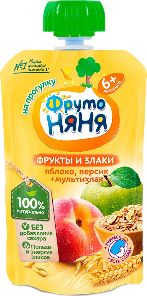 ФрутоНяня пюре из яблок и персиков со злаками с 6 месяцев, 130 г