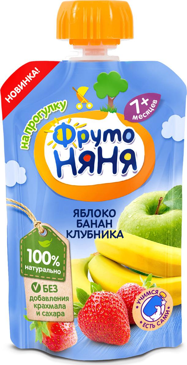 ФрутоНяня пюре десерт из клубники с яблоком и бананом с 7 месяцев, 90 г