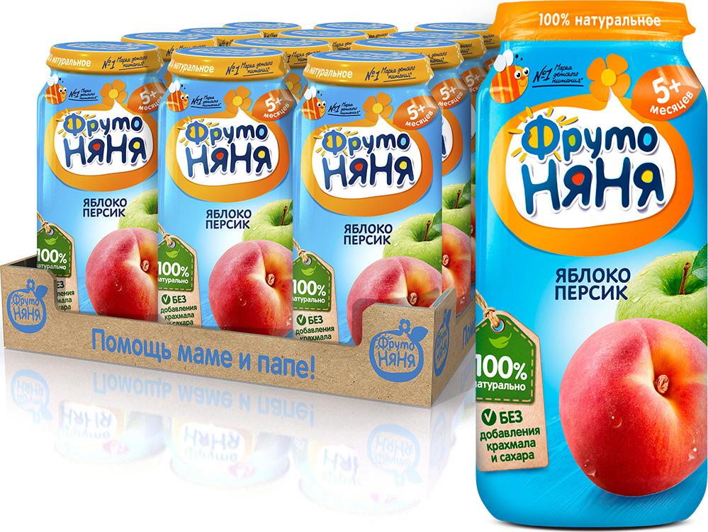 ФрутоНяня Яблоко персик пюре с 5 месяцев, 12 шт по 250 г