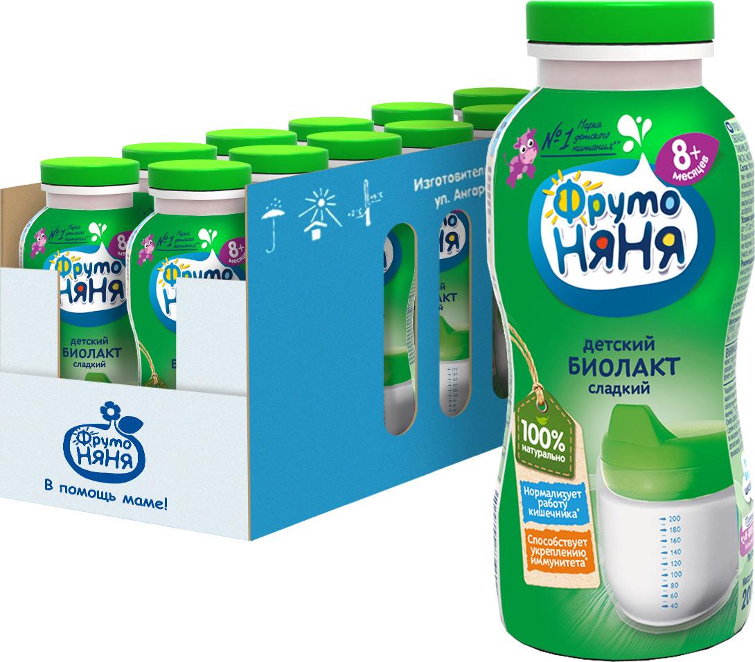 Продукт кисломолочный ФрутоНяня Биолакт, сладкий, обогащеный пребиотиками и пробиотиками, 3,2%, 12 шт по 200 г