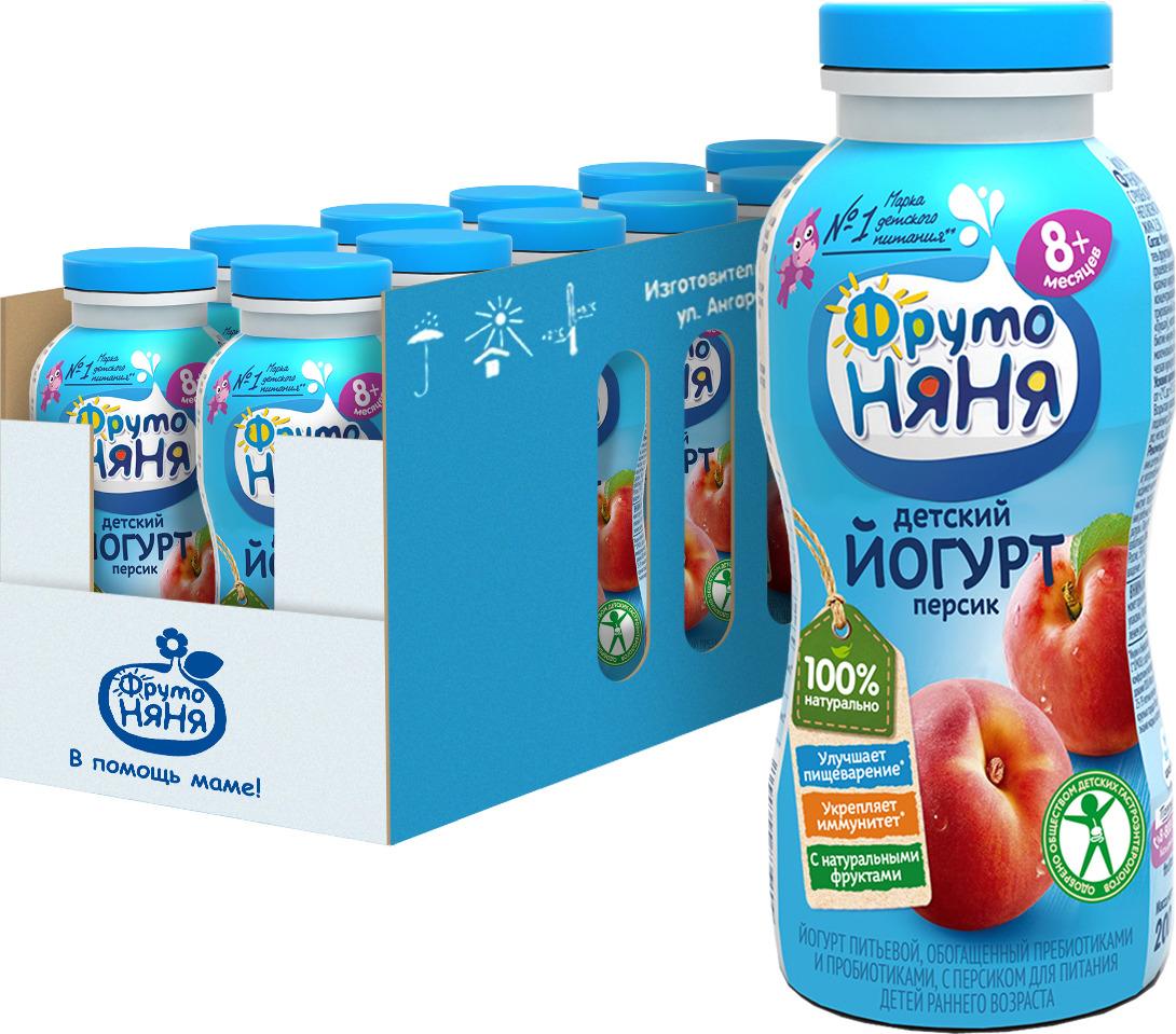 Йогурт питьевой ФрутоНяня, обогащенный пребиотиками и пробиотиками, с персиком, 2,5%, 12 шт по 200 мл