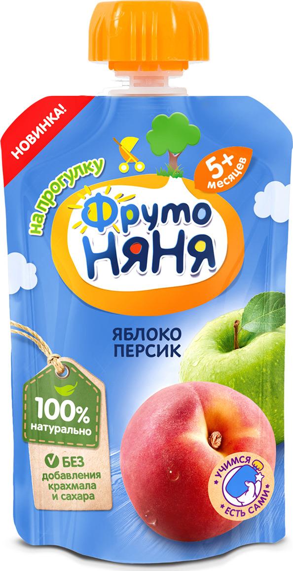 Пюре ФрутоНяня из яблок и персиков с 5 месяцев, 90 г фрутоняня пюре из яблок и персиков с 5 месяцев 250 г