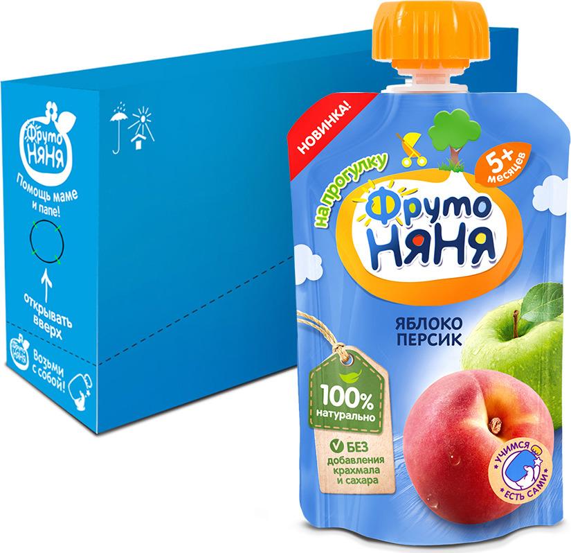 Пюре ФрутоНяня из яблок и персиков с 5 месяцев, 12 шт по 90 г фрутоняня пюре из яблок и персиков с 5 месяцев 250 г