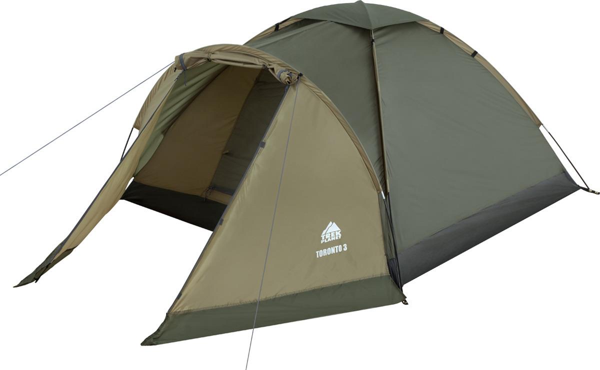 Палатка трехместная Trek Planet Toronto 3, цвет: темно-зеленый, оливковый