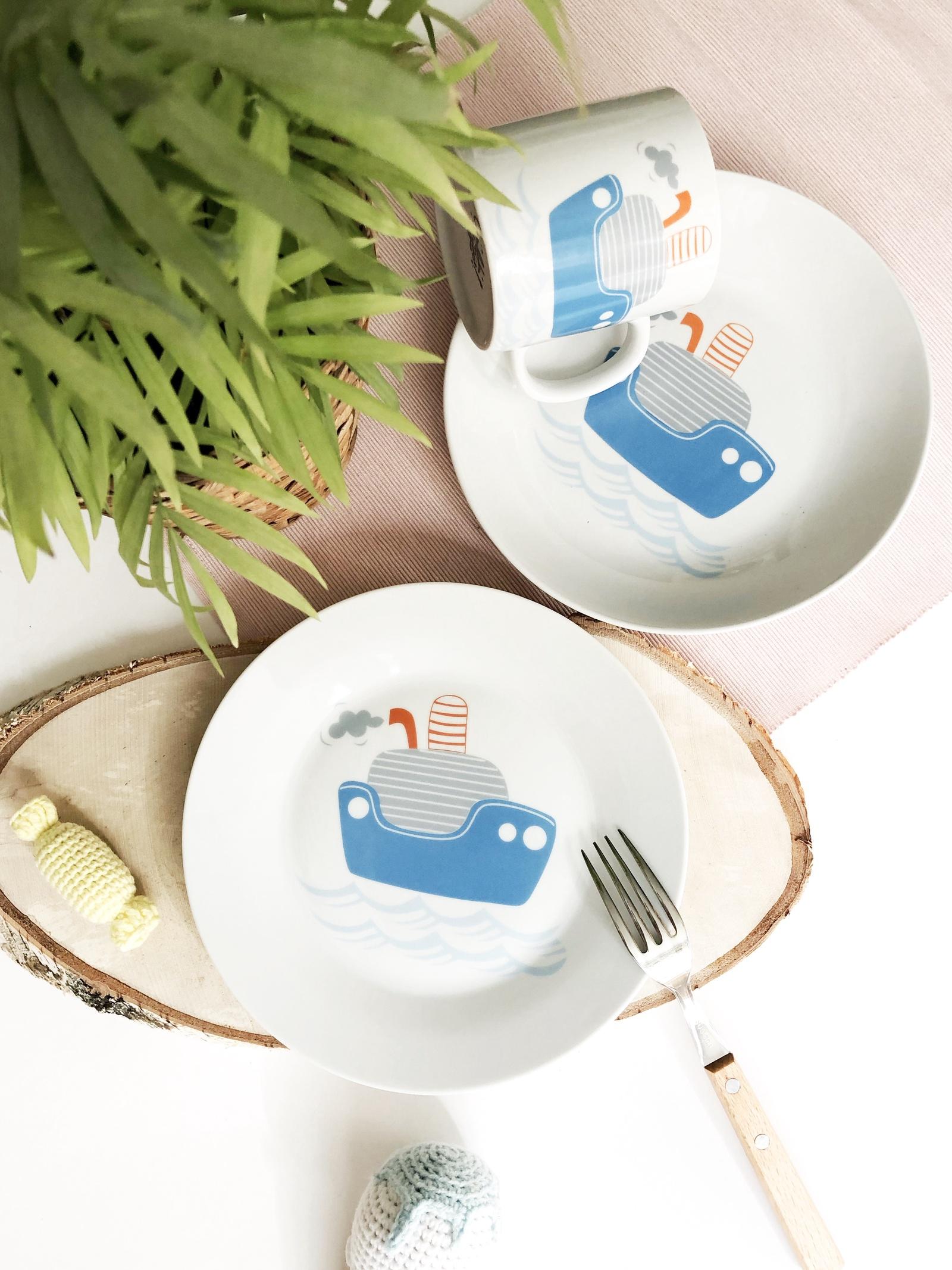 Набор посуды Кораблик (3 в 1: кружка+тарелка+глубокая тарелка Sans Brides)