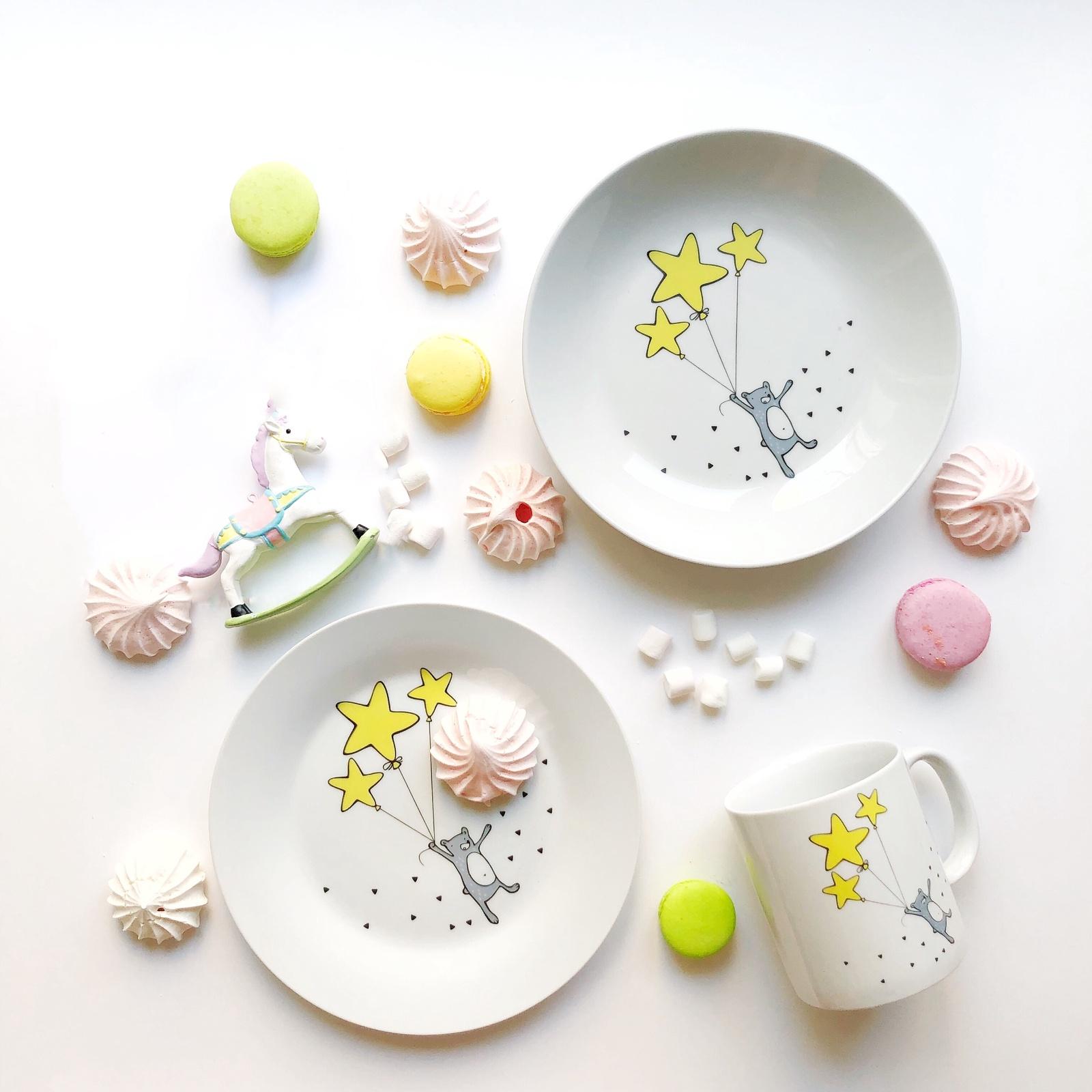 Набор столовой посуды Сотвори Чудо Набор посуды Звёздный мишка (3 в 1: кружка+тарелка+глубокая тарелка Sans Brides), белый тарелка мелкая сотвори чудо цветочный мишка диаметр 20 см