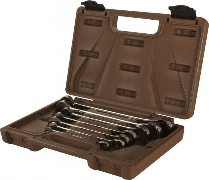Набор ключей Ombra Snap Gear гаечных комбинированных трещоточных, 8-19 мм, 935007, 7 шт набор комбинированных гаечных ключей в кейсе 7 шт jonnesway w45107s комбинированные трещоточные ключи 7шт