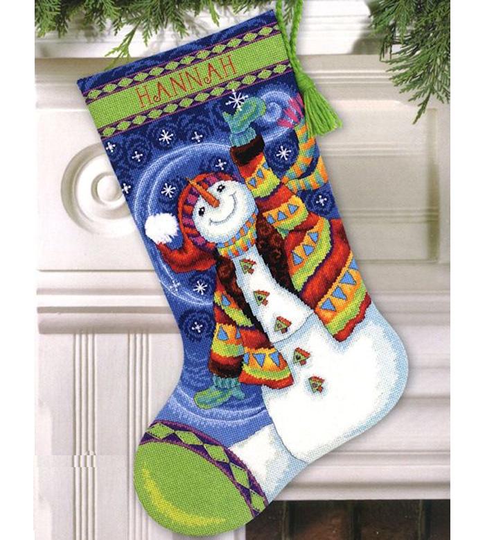 Набор для вышивания Dimensions Happy Snowman Stocking цены онлайн