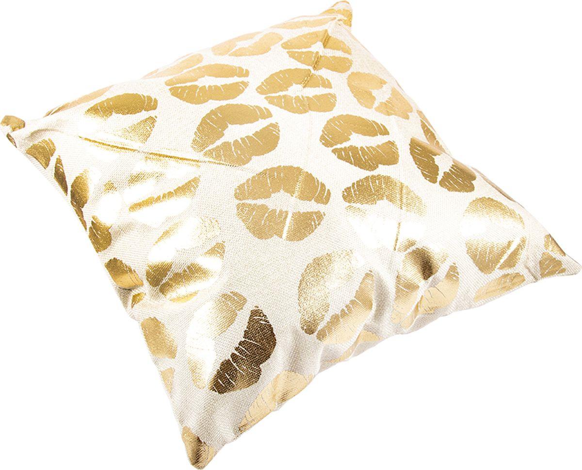 Наволочка декоративная Русские Подарки, 76324, белый, золотой, 45 х  см