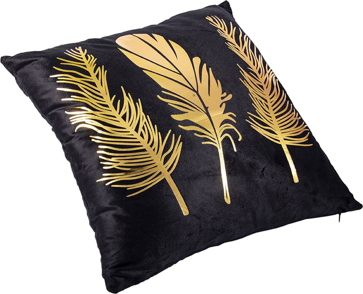 Наволочка декоративная Русские Подарки, 76319, черный, золотой, 45 х  см
