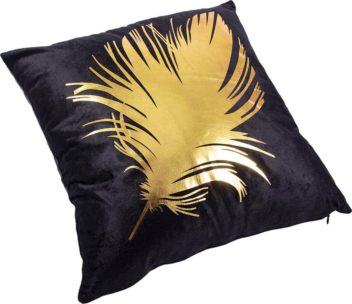 Наволочка декоративная Русские Подарки, 76315, черный, золотой, 45 х  см