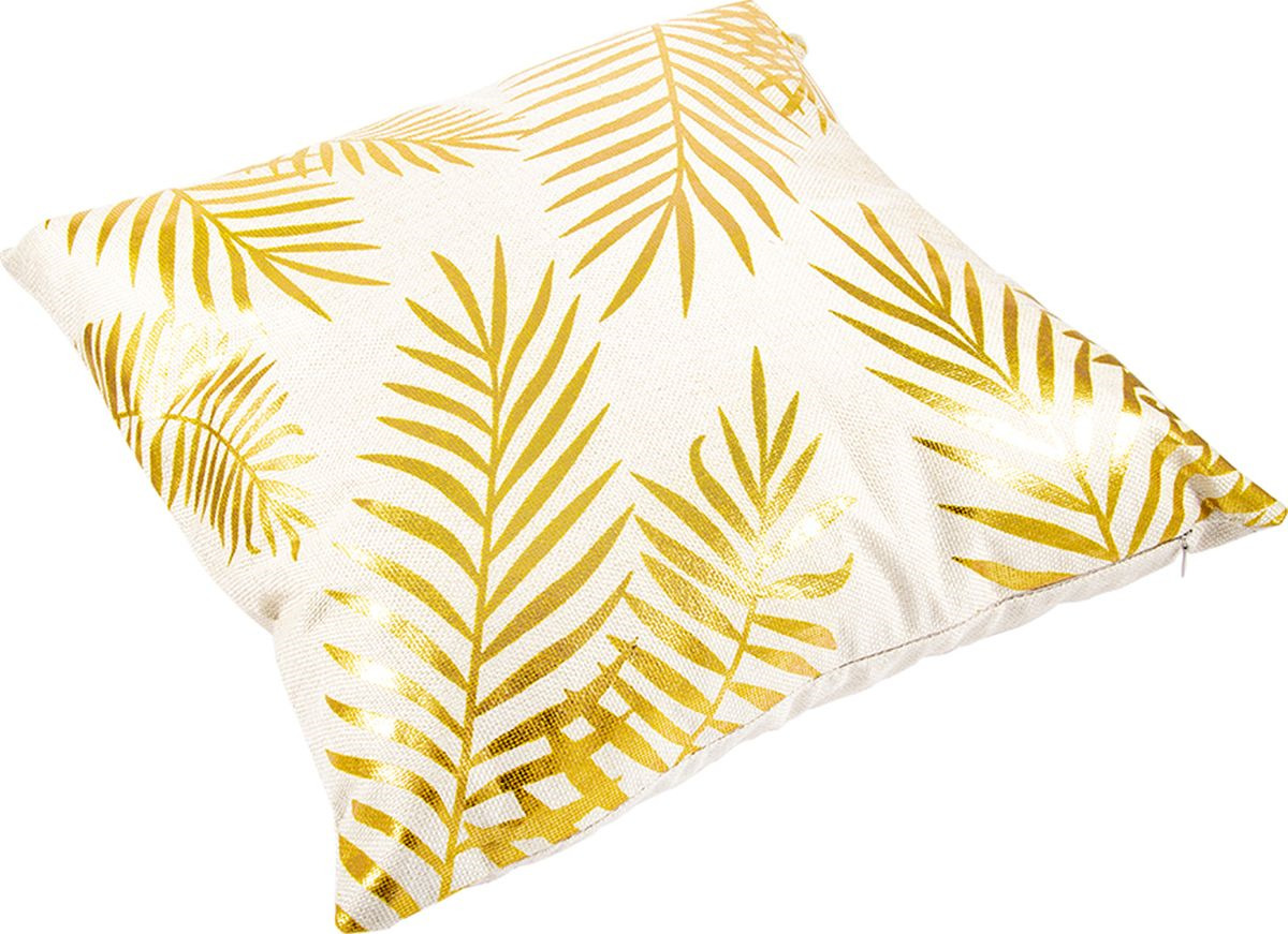 Наволочка декоративная Русские Подарки, 76325, белый, золотой, 45 х  см