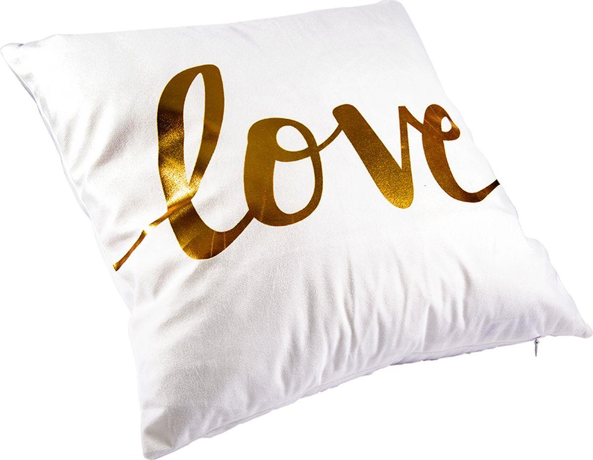 Наволочка декоративная Русские Подарки, 76323, белый, золотой, 45 х  см
